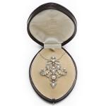 Paul Templier Diamond and Natural Pearl Pin/Pendant, in box