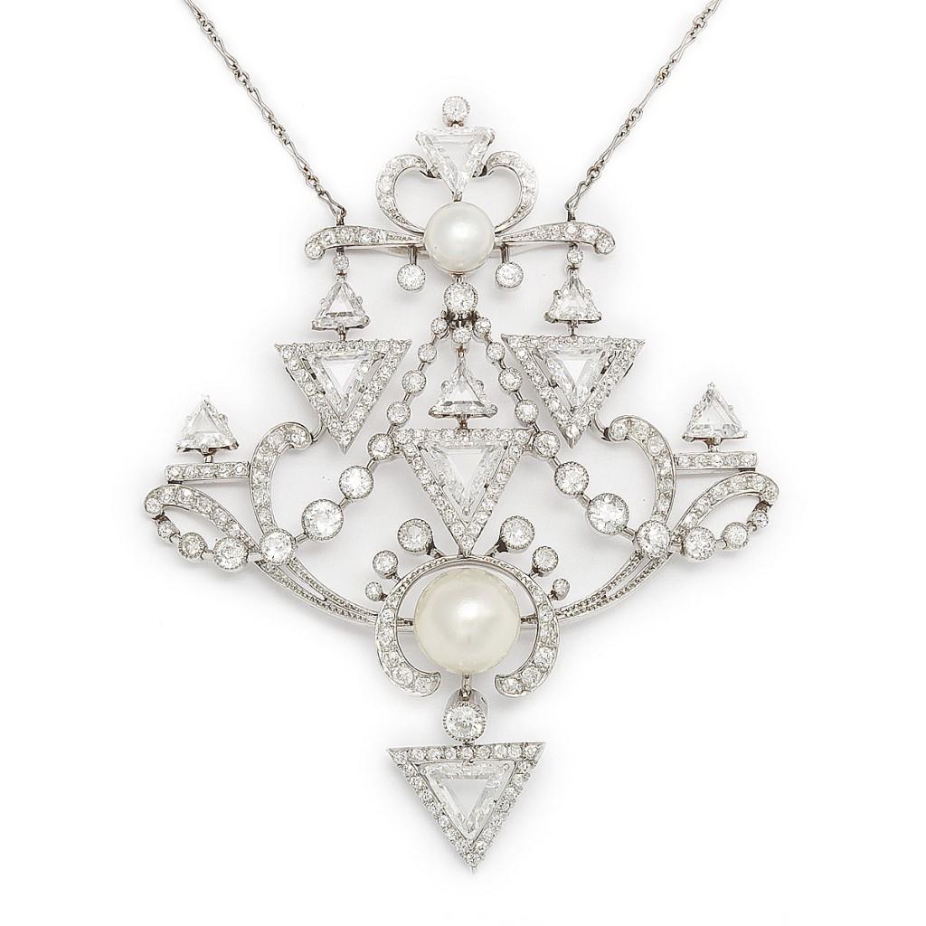 Paul Templier Diamond and Natural Pearl Pin/Pendant