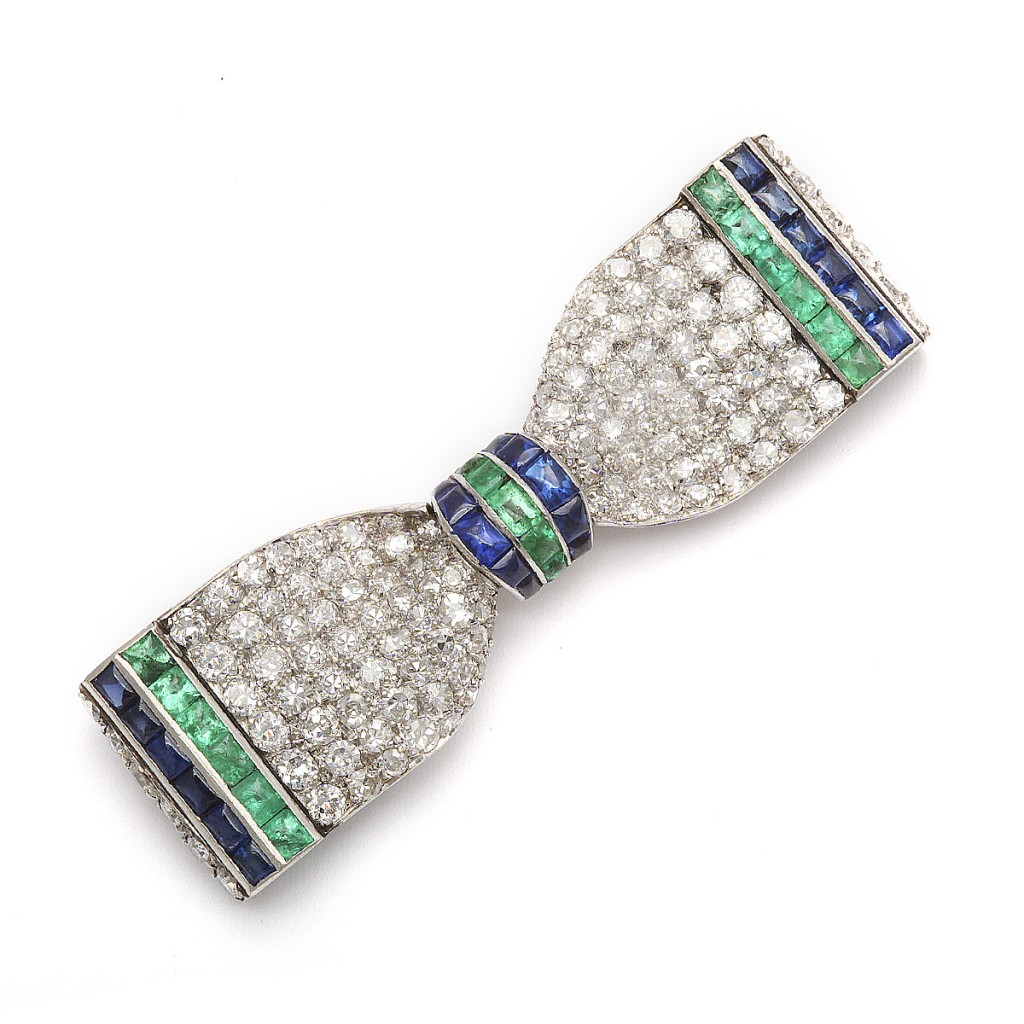 main view, Vintage Art Deco Bow Tie Brooch