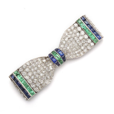 main view, Vintage Art Deco Bow Tie Brooch