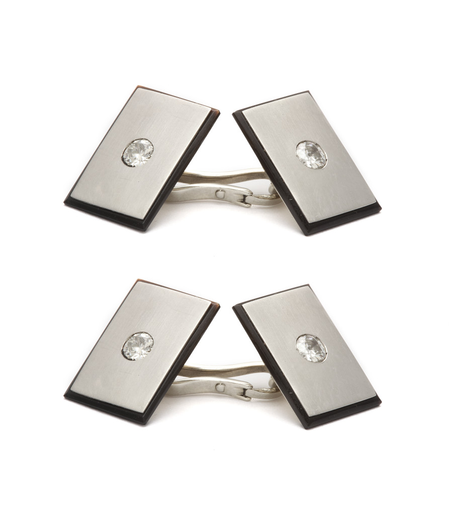 Antique Platinum, Diamond, and Onyx Double Cufflinks