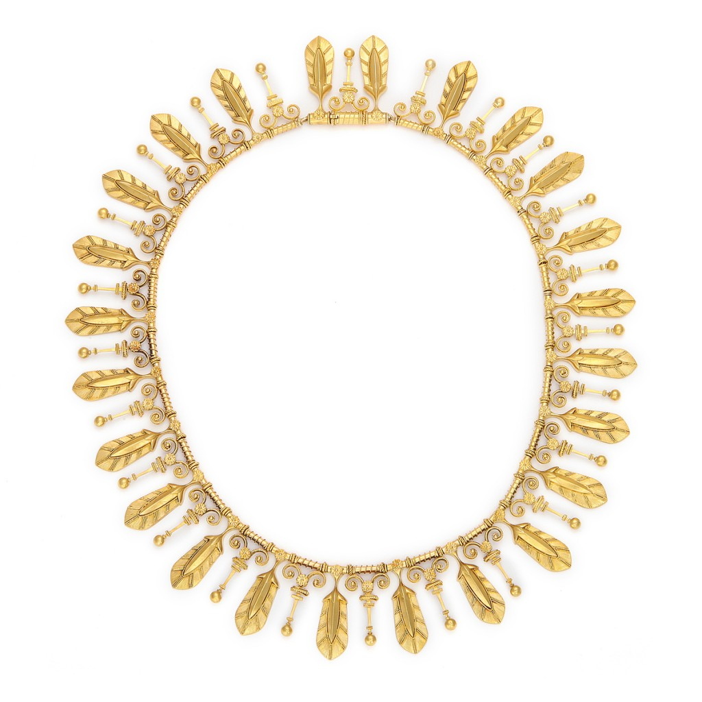 Fontenay Etruscan Revival Gold Fringe Necklace