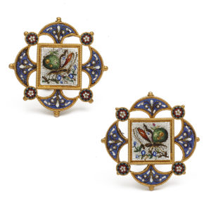 Antique Micromosaic Butterfly Earrings