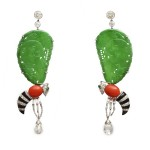 Contemporary Gem and Jade Wasp Earrings