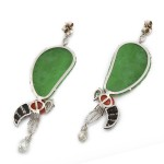 Contemporary Gem and Jade Bee Earrings, back
