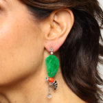 Model wearing Contemporary Gem and Jade Wasp Earrings