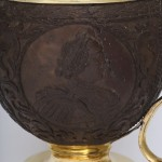 Antique Russian Carved Coconut Tankard with Imperial Portraits, side b