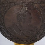 Antique Russian Carved Coconut Tankard with Imperial Portraits, side c
