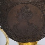 Antique Russian Carved Coconut Tankard with Imperial Portraits, side d