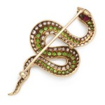 American Victorian Jeweled Snake Brooch, back