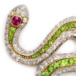 American Victorian Jeweled Snake Brooch, head