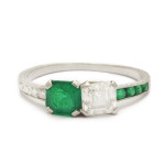 Art Deco Emerald and Diamond Ring. a