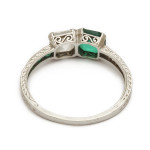 Art Deco Emerald and Diamond Ring, back