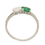 Art Deco Emerald and Diamond Ring. c