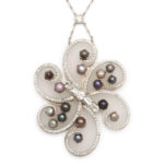 main view, 1960s Frosted Rock Crystal, Diamond, and Natural Pearl Pendant