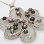 detail, 1960s Frosted Rock Crystal, Diamond, and Natural Pearl Pendant