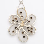 back, 1960s Frosted Rock Crystal, Diamond, and Natural Pearl Pendant