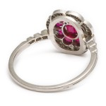 Antique Ruby Flower Ring, back