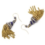 gold and enamel tassel earrings, a