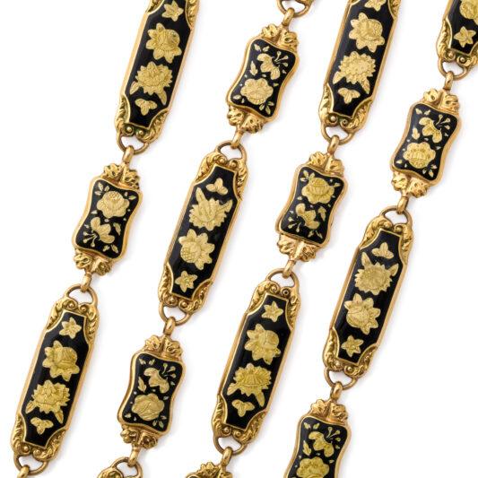 detail view, Antique Swiss Enamel Necklace