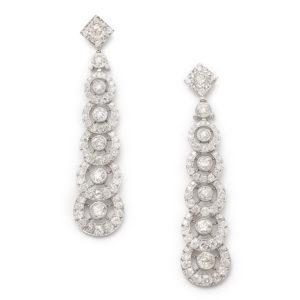 Circular Diamond Drop Earrings