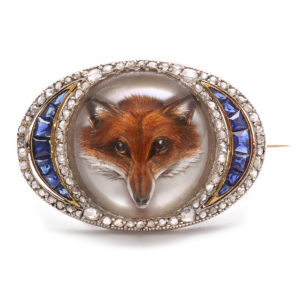 Reverse Crystal Fox Head Brooch