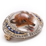 Reverse Crystal Fox Head Brooch, side