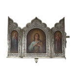 main view, Antique Russian Traveling Triptych Icon