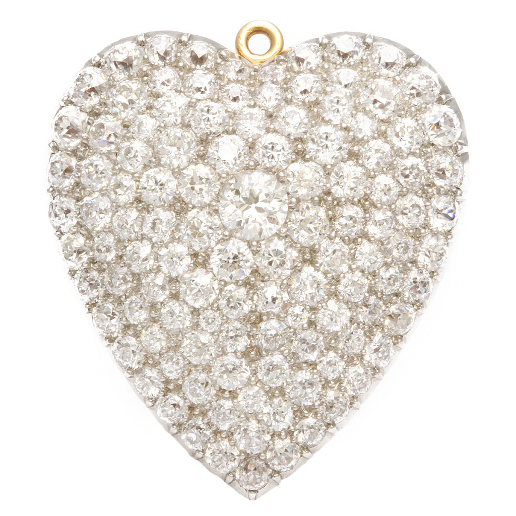 1920s Diamond Heart Brooch and Pendant