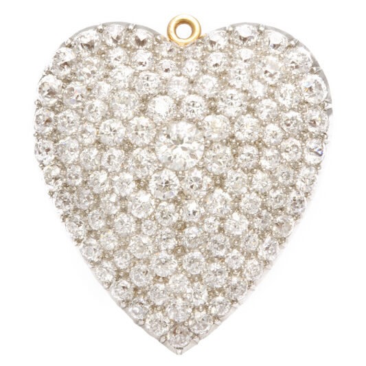 1920s Diamond Heart Brooch and Pendant