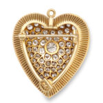 back view, 1920s Diamond Heart Brooch and Pendant