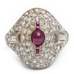1920s Diamond and Ruby Bombe Ring