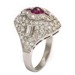 1920s Diamond and Ruby Bombe Ring, side