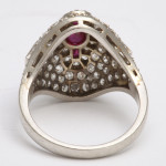 1920s Diamond and Ruby Bombe Ring, back