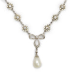 Antique Diamond and Natural Pearl Cluster Necklace