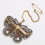 Antique Diamond Butterfly Brooch, back