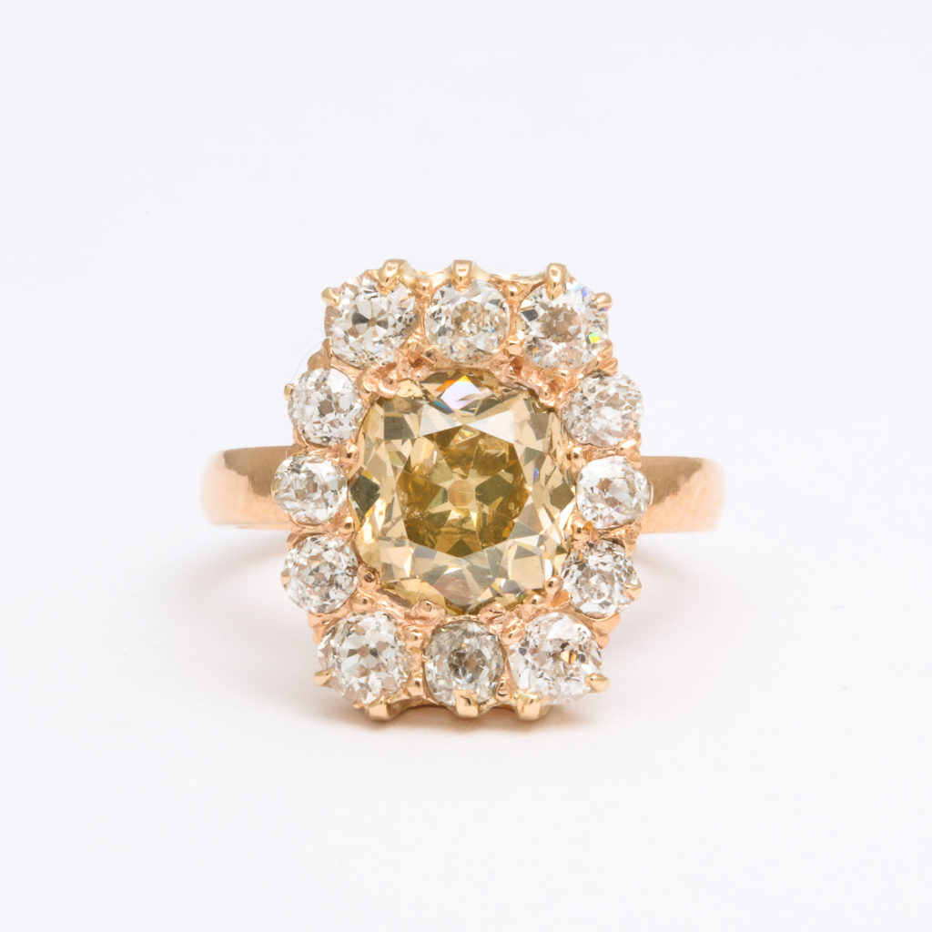 main view,Antique Diamond Cluster Ring