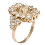 Side view, Antique Diamond Cluster Ring