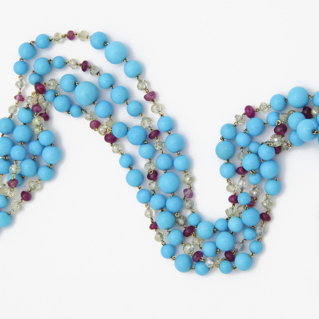 Contemporary Turquoise Bead Necklace