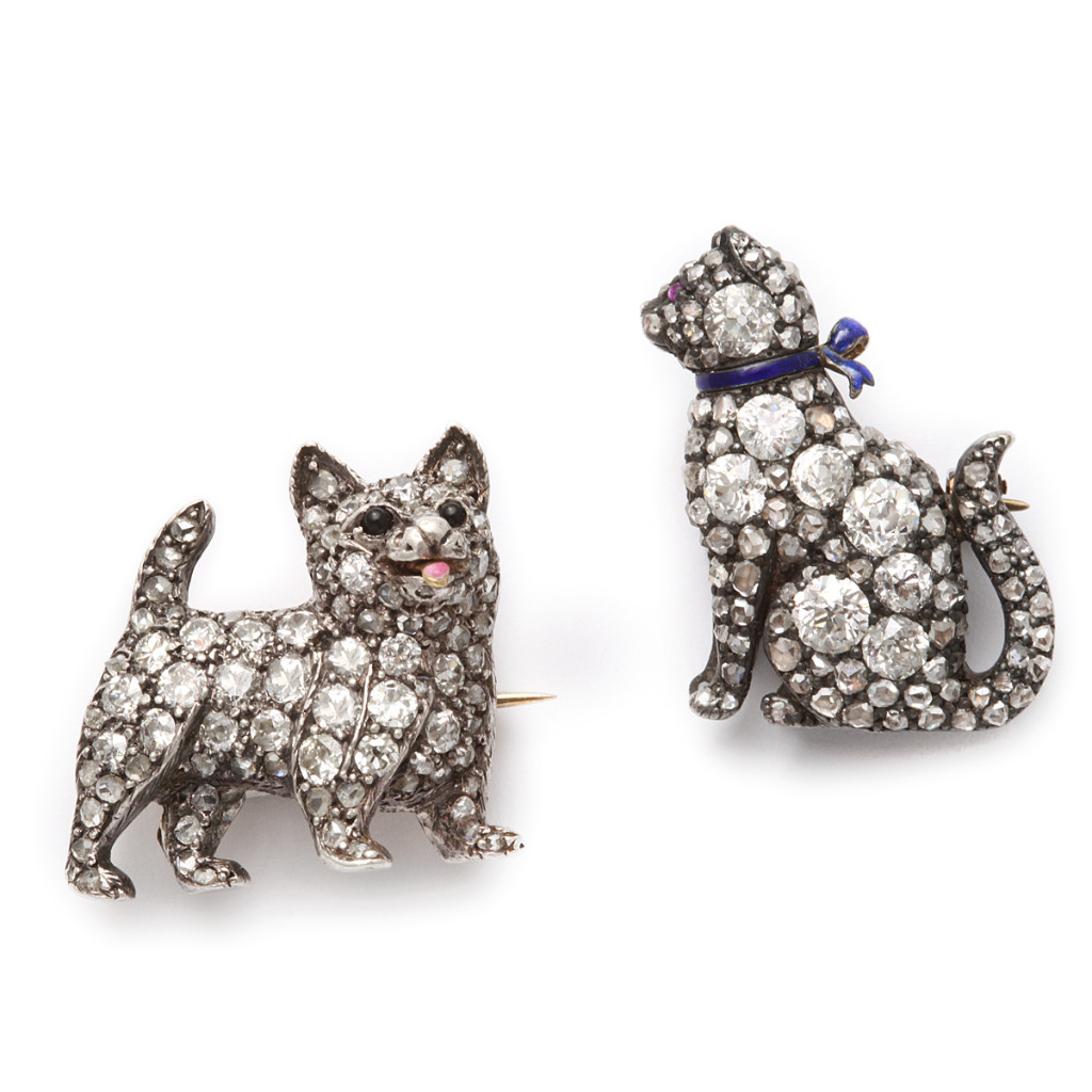 Victorian Cat and Dog Pave Diamond Brooches