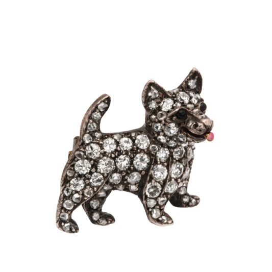 additional view, Victorian Diamond Dog Brooch
