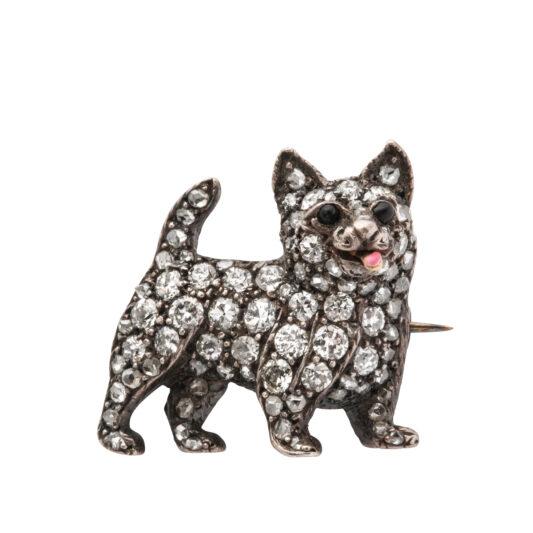 main view, Victorian Diamond Dog Brooch