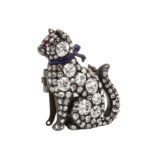 other view, Victorian Pavé Diamond Cat Brooch