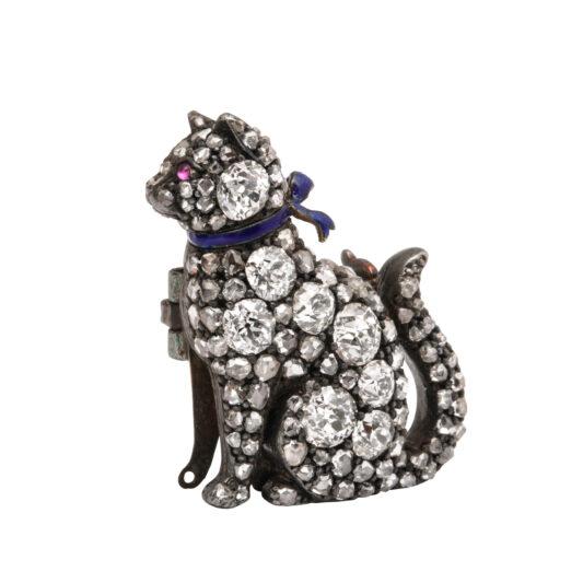 other view, Victorian Pavé Diamond Cat Brooch