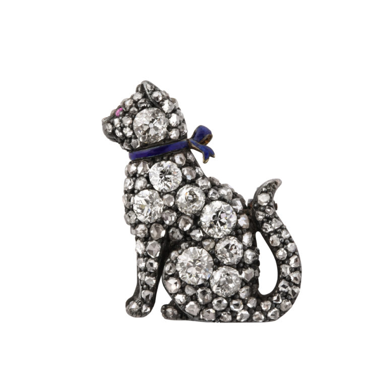 main view, Victorian Pavé Diamond Cat Brooch