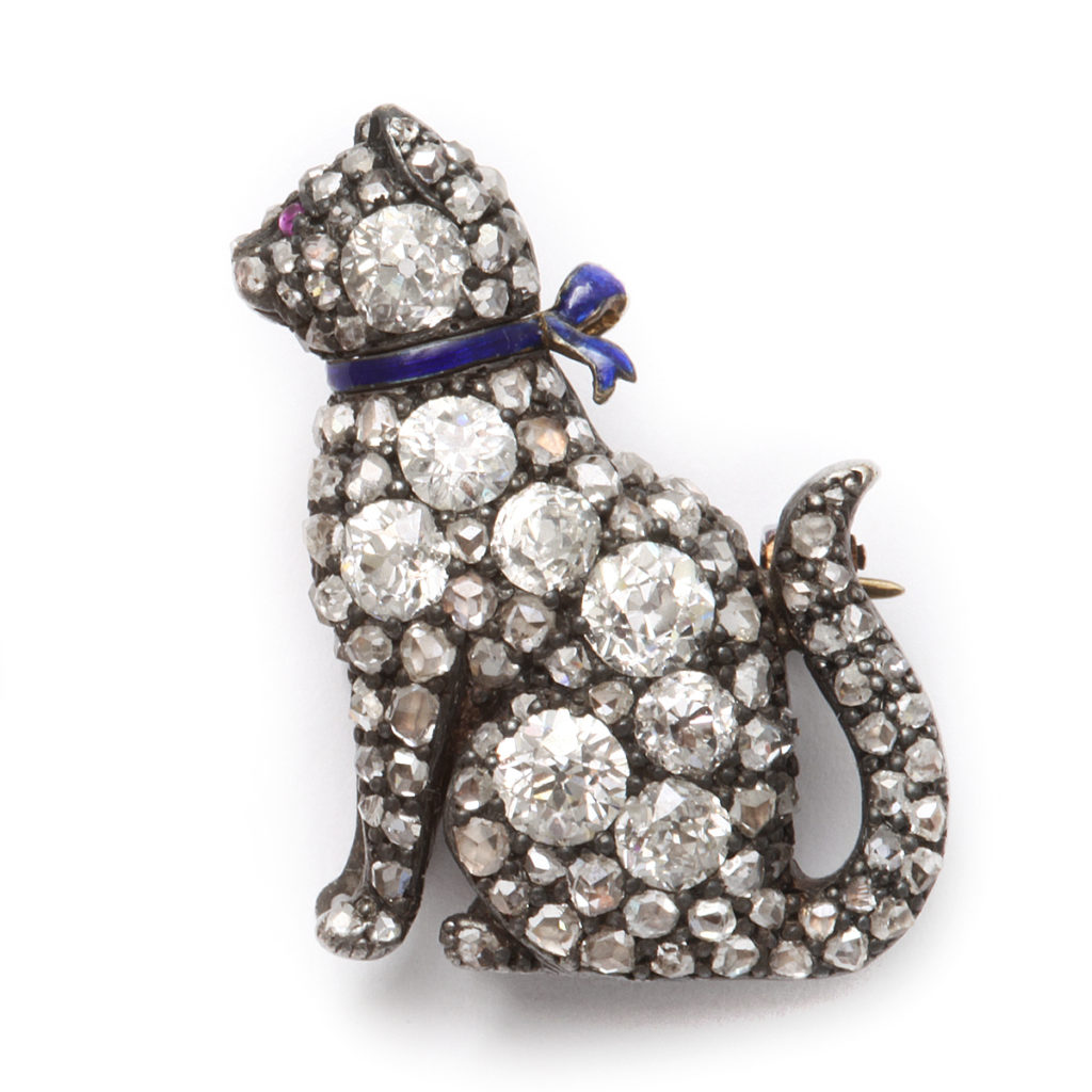 Victorian Pavé Diamond Cat Brooch, main view