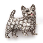 main view, Victorian diamond dog brooch