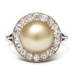main view, Antique Pearl and Diamond Ring