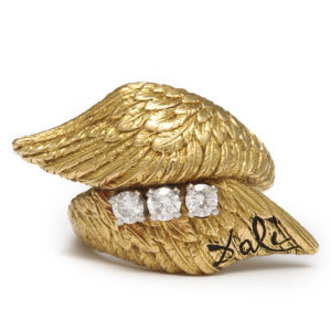 Salvador Dali Gold Angel Wings Ring