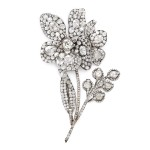Antique Diamond Peony Brooch